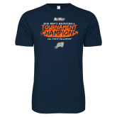 Next Level SoftStyle Navy T Shirt-2018 Mens Basketball Champions - Brush