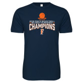 Next Level SoftStyle Navy T Shirt-2018 Mens Basketball Champions - Net w/ Basketball