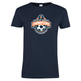 Ladies Navy T Shirt-2017 Big West Womens Soccer Champions