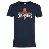 Ladies Navy T Shirt-2018 Mens Basketball Champions - Net w/ Basketball