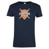 Ladies Navy T Shirt-Big West 2018 Baseball Champions