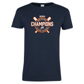 Ladies Navy T Shirt-Big West 2018 Softball Champions