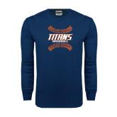 Navy Long Sleeve T Shirt-Baseball Sideway Seams