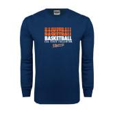 Navy Long Sleeve T Shirt-Basketball Repeating
