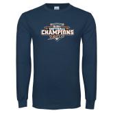 Navy Long Sleeve T Shirt-2017 Big West Back to Back Softball Champions