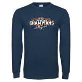 Navy Long Sleeve T Shirt-2017 Big West Track & Field Champions