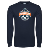 Navy Long Sleeve T Shirt-2017 Big West Womens Soccer Champions