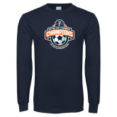 Navy Long Sleeve T Shirt-2017 Big West Mens Soccer Champions