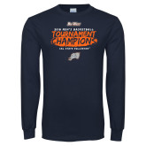 Navy Long Sleeve T Shirt-2018 Mens Basketball Champions - Brush