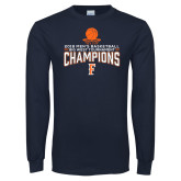 Navy Long Sleeve T Shirt-2018 Mens Basketball Champions - Net w/ Basketball
