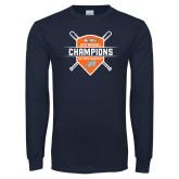Navy Long Sleeve T Shirt-Big West 2018 Baseball Champions