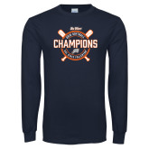 Navy Long Sleeve T Shirt-Big West 2018 Softball Champions