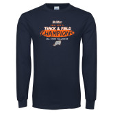 Navy Long Sleeve T Shirt-2018 Big West Track and Field Champions