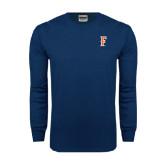 Navy Long Sleeve T Shirt-F