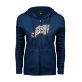 ENZA Ladies Navy Fleece Full Zip Hoodie-Alternate Head