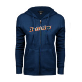 ENZA Ladies Navy Fleece Full Zip Hoodie-Cal State Fullerton