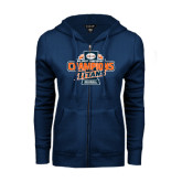 ENZA Ladies Navy Fleece Full Zip Hoodie-2016 Big West Conference Champions Baseball