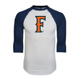 White/Navy Raglan Baseball T-Shirt-F