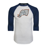 White/Navy Raglan Baseball T-Shirt-Alternate Head