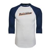 White/Navy Raglan Baseball T-Shirt-Cal State Fullerton