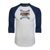 White/Navy Raglan Baseball T-Shirt-Baseball Sideway Seams
