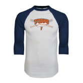 White/Navy Raglan Baseball T-Shirt-Baseball Crossed Bats