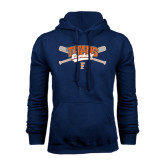 Navy Fleece Hoodie-Baseball Crossed Bats