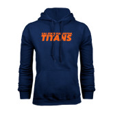 Navy Fleece Hoodie-Cal State Fullerton Titans Stacked
