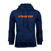 Navy Fleece Hoodie-Tusks Up