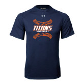 Under Armour Navy Tech Tee-Baseball Sideway Seams