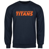Navy Fleece Crew-Cal State Fullerton Titans Stacked