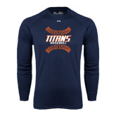 Under Armour Navy Long Sleeve Tech Tee-Baseball Sideway Seams