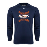 Under Armour Navy Long Sleeve Tech Tee-Softball Sideway Seams
