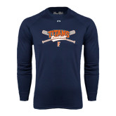 Under Armour Navy Long Sleeve Tech Tee-Baseball Crossed Bats
