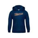 Youth Navy Fleece Hoodie-Primary Logo