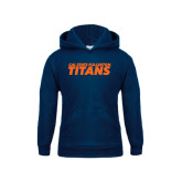 Youth Navy Fleece Hoodie-Cal State Fullerton Titans Stacked