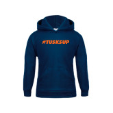 Youth Navy Fleece Hoodie-Tusks Up