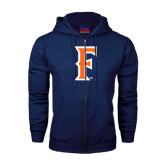 Navy Fleece Full Zip Hoodie-F