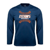 Performance Navy Longsleeve Shirt-Baseball Sideway Seams