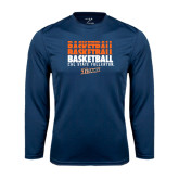 Performance Navy Longsleeve Shirt-Basketball Repeating