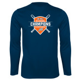 Performance Navy Longsleeve Shirt-Big West 2018 Baseball Champions