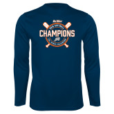 Performance Navy Longsleeve Shirt-Big West 2018 Softball Champions