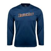 Performance Navy Longsleeve Shirt-Cal State Fullerton