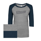 ENZA Ladies Athletic Heather/Navy Vintage Triblend Baseball Tee-Primary Logo Graphite Soft Glitter