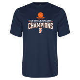 Performance Navy Tee-2018 Mens Basketball Champions - Net w/ Basketball