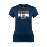 Ladies Syntrel Performance Navy Tee-Basketball Repeating