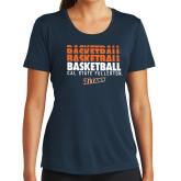 Ladies Syntrel Performance Navy Tee-Basketball Repeating