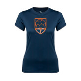 Ladies Syntrel Performance Navy Tee-Soccer Shield