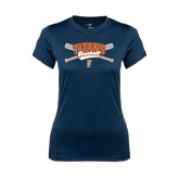 Ladies Syntrel Performance Navy Tee-Baseball Crossed Bats