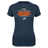 Ladies Syntrel Performance Navy Tee-2018 Mens Basketball Champions - Brush